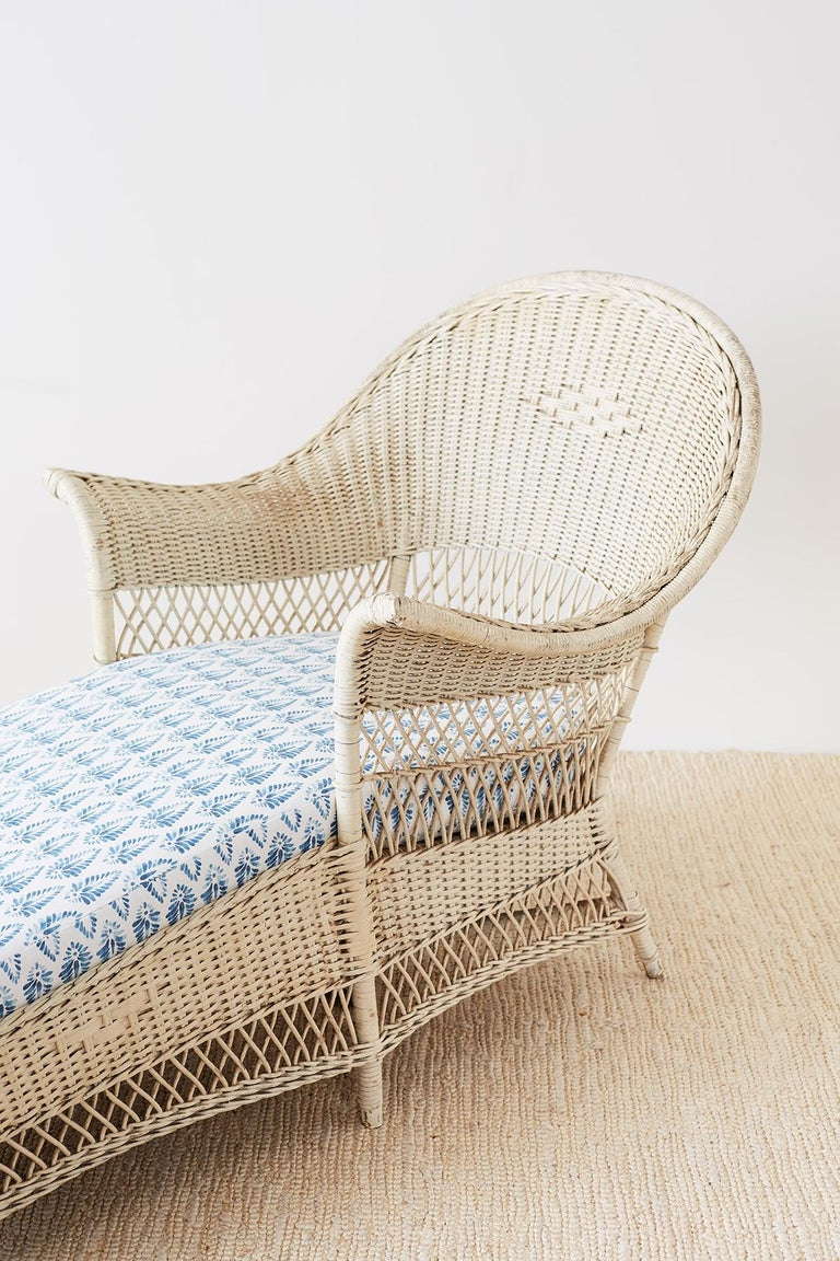 Painted Bar Harbor Willow And Wicker Chaise Lounge For