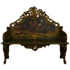 Painted Bench / Hall Seat Louis XV Style