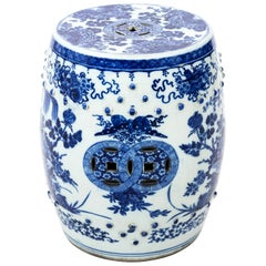 Painted Blue and White Chinese Porcelain Garden Seat