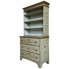 Bureau Bookcase in Two Parts Hand Painted in a Classical Style