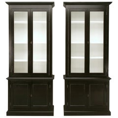 Painted Bookcases or China Cabinets Made in Our Workshop in Any Dimension, Pair