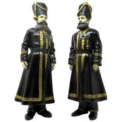 Painted Bronze Figures of the Kamer-Kazaks Pustynnikov and Kudinov Faberge, Pair