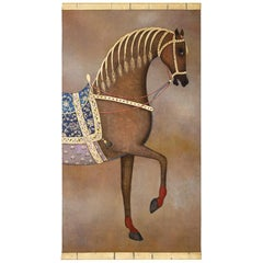 Painted Canvas, Arabian Brown Horse, Contemporary Work