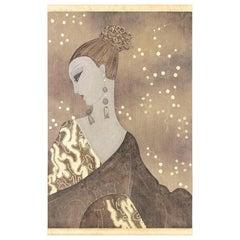 Painted Canvas, Art Deco Woman's Portrait, Contemporary Work