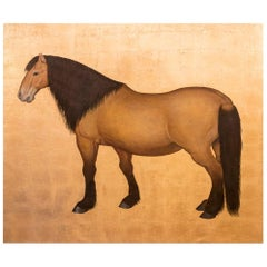 Painted Canvas, Brown Bai Horse on a Gilt Background, Contemporary Work