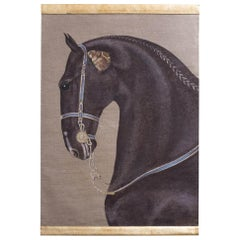 Painted Canvas Figuring a Black Horse, Contemporary Work