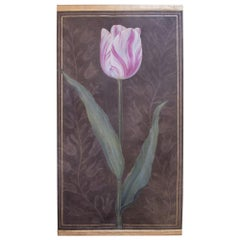 Painted Canvas Figuring a Pink Tulip, Contemporary Work