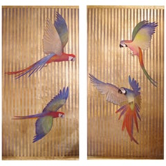 Painted Canvas Figuring Parrots, Contemporary Work