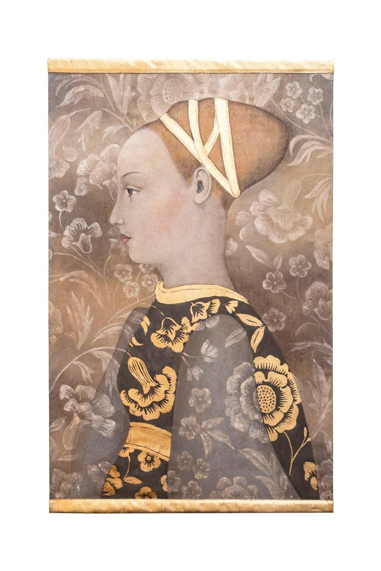 Painted Canvas Of A Renaissance Style Woman Portrait Contemporary Work