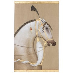 Painted Canvas, White Arabian Horse, Contemporary Work