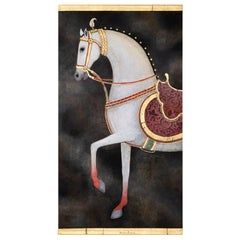 Painted Canvas, White Horse on a Black Background, Contemporary Work