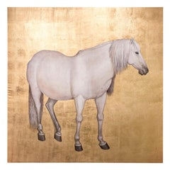 Painted Canvas, White Horse on a Gilt Background, Contemporary Work
