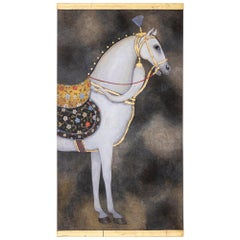 Painted Canvas, White Horse on a Grey Background, Contemporary Work