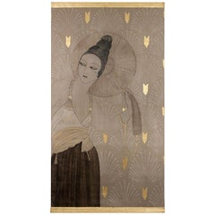 Painted Canvas, Woman with a Fan, Contemporary Work