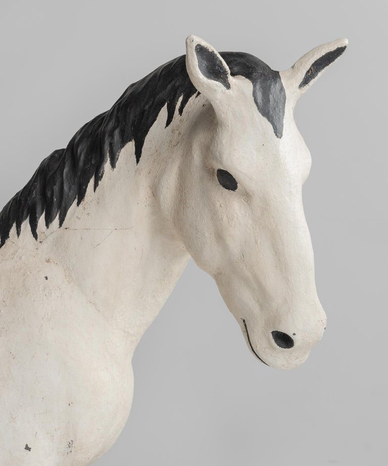 Modern Painted Cast Stone Horse, France, circa 1950 For Sale