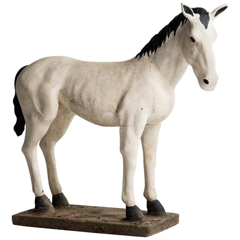 Painted Cast Stone Horse, France, circa 1950 For Sale