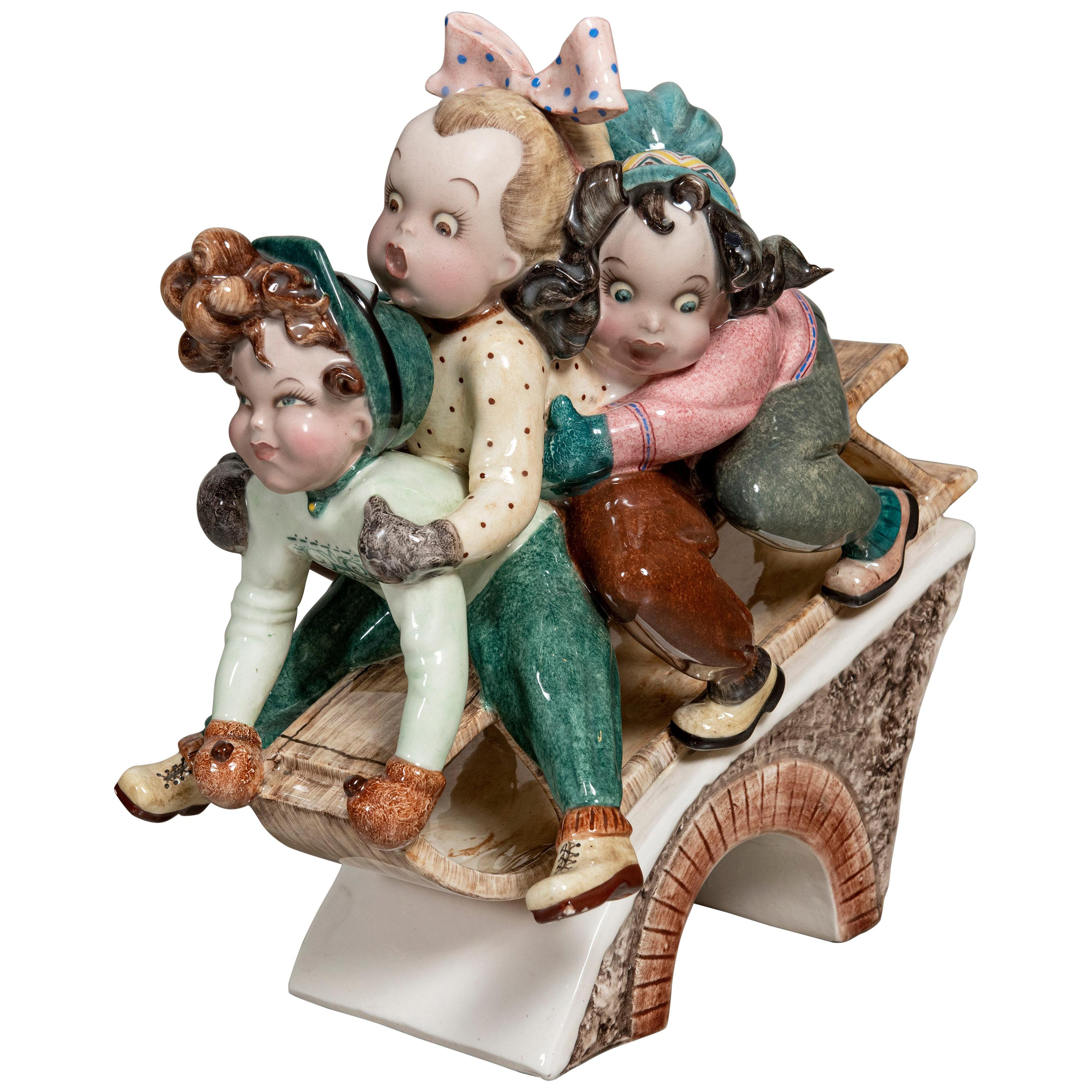 Painted Ceramic Sculpture by Tizziano Galli, Italy, circa 1940