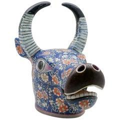 Painted Ceramic Water Buffalo Tureen