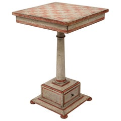 Painted Checkerboard Pedestal Side Table
