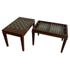 Painted Chess and Backgammon Game Tables
