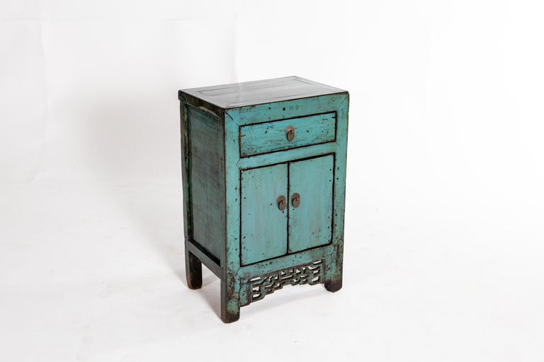 Elm Painted Chinese Cabinet with a Drawer and Pair of Doors For Sale