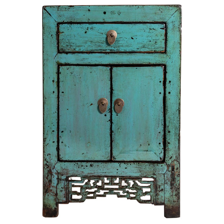 Painted Chinese Cabinet with a Drawer and Pair of Doors For Sale