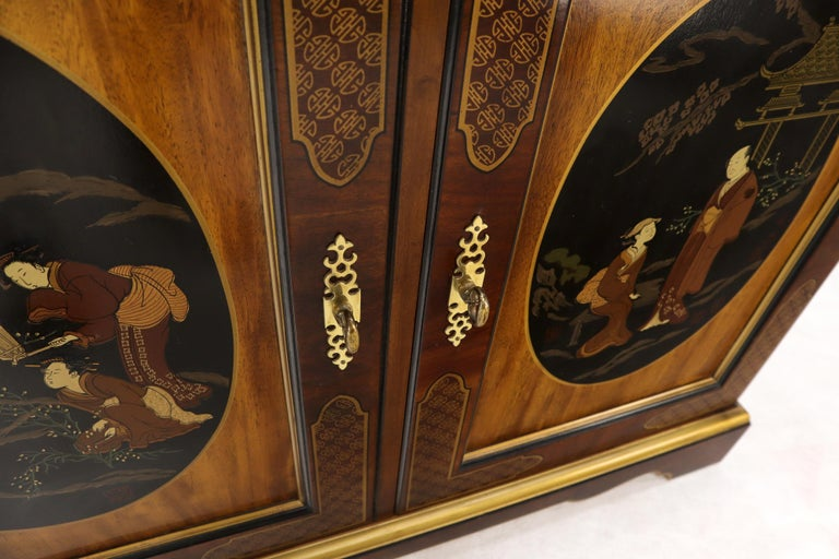 Painted Chinoiserie Two Doors Server Cabinet by Drexel For Sale 4