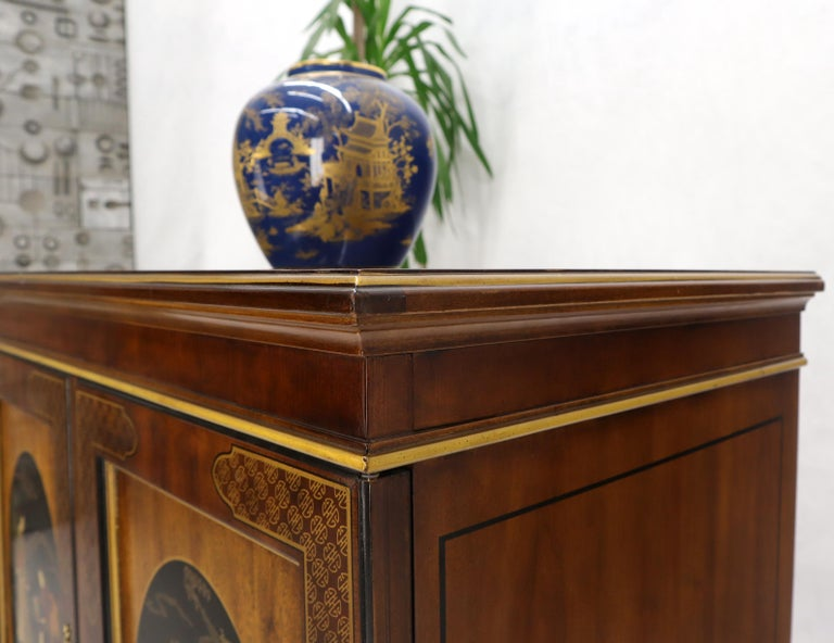 Painted Chinoiserie Two Doors Server Cabinet by Drexel For Sale 5