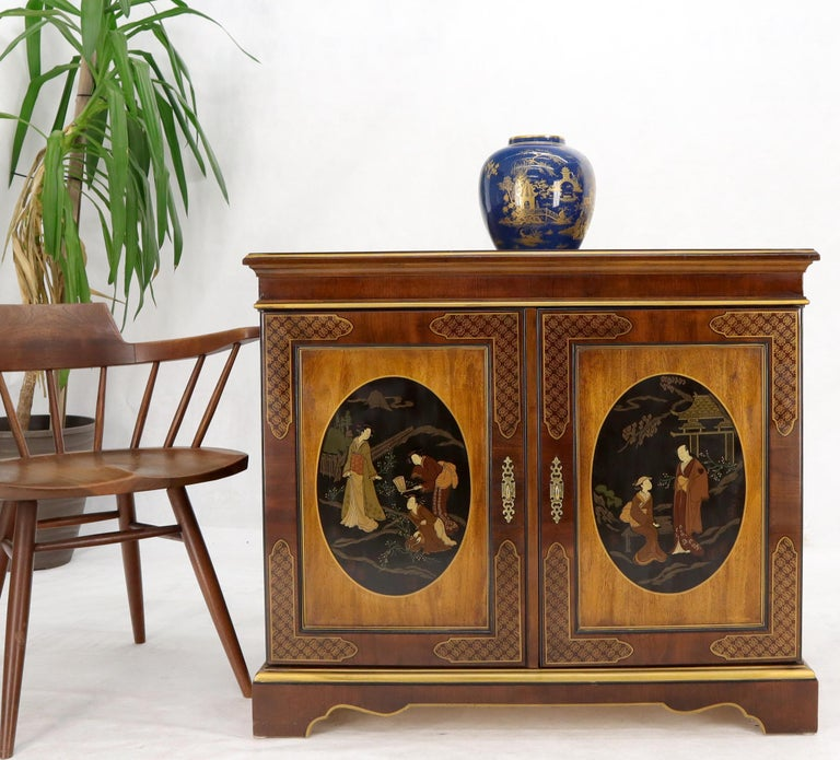 Painted Chinoiserie Two Doors Server Cabinet by Drexel For Sale 6