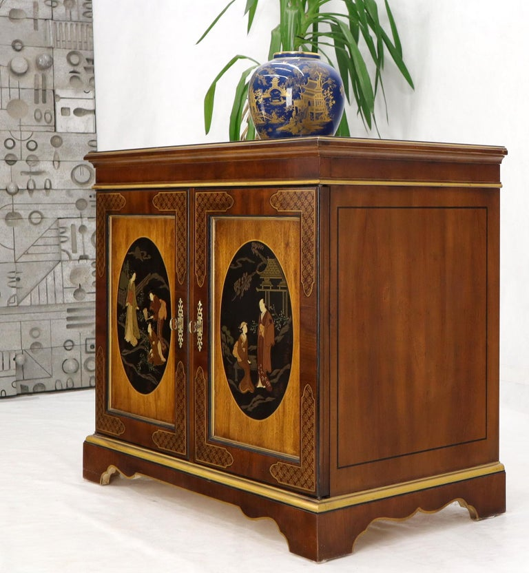 Painted Chinoiserie Two Doors Server Cabinet by Drexel For Sale 7