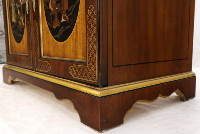 Painted Chinoiserie Two Doors Server Cabinet by Drexel For Sale 8