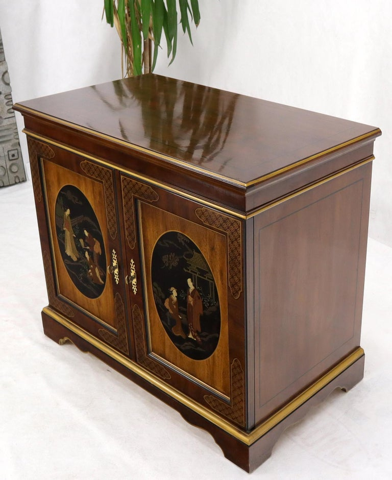 American Painted Chinoiserie Two Doors Server Cabinet by Drexel For Sale