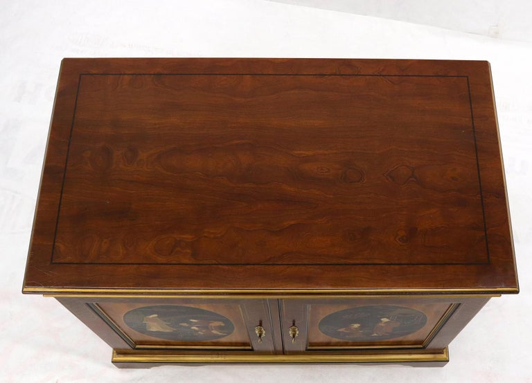 Painted Chinoiserie Two Doors Server Cabinet by Drexel In Good Condition For Sale In Rockaway, NJ