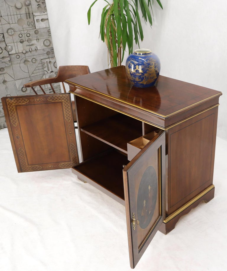 Mahogany Painted Chinoiserie Two Doors Server Cabinet by Drexel For Sale