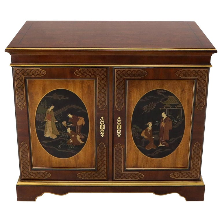Painted Chinoiserie Two Doors Server Cabinet by Drexel For Sale