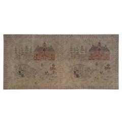 Painted, Cloth, Wallhanging, 20th Century, Scandinavian, Folk Art