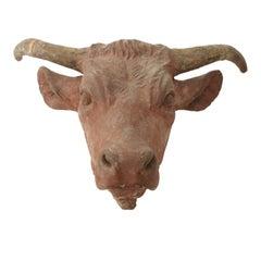 Painted Concrete Bull Head