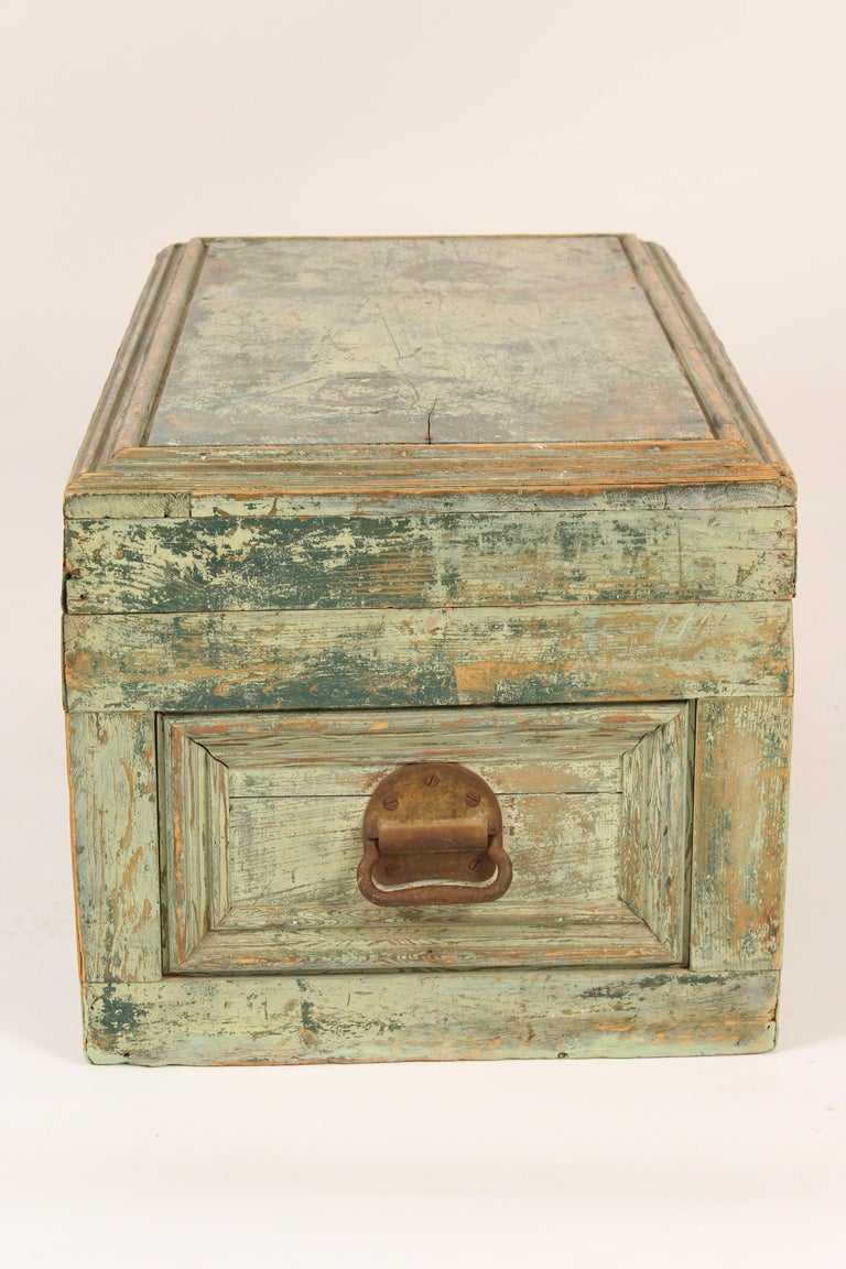 Painted Country Trunk In Fair Condition For Sale In Laguna Beach, CA