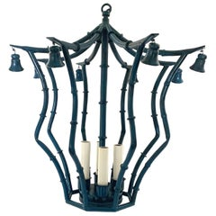 Painted Custom Blue Faux Bamboo Chandelier