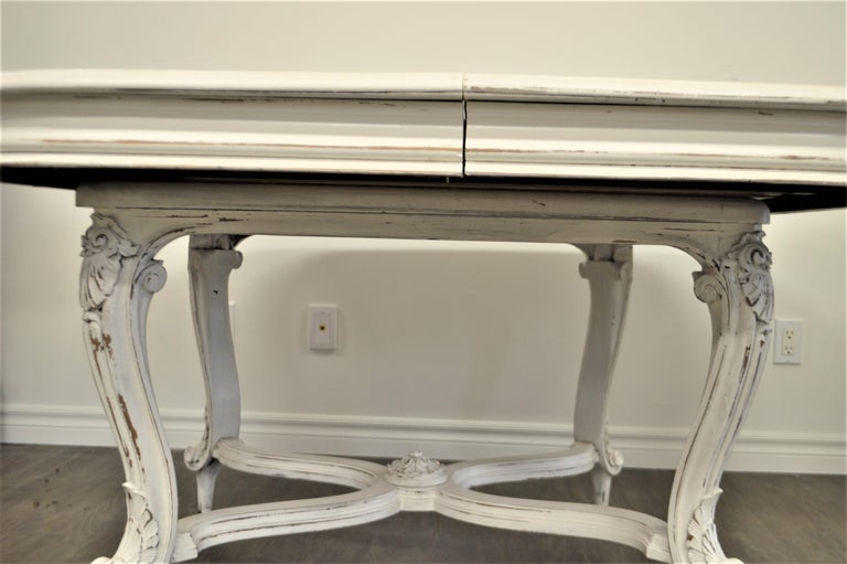 20th Century Painted Dining Table from Provence, Attractive Hand Carving on Louis XV Legs For Sale
