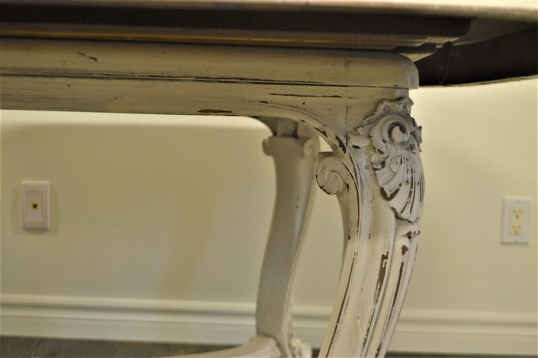 Walnut Painted Dining Table from Provence, Attractive Hand Carving on Louis XV Legs For Sale