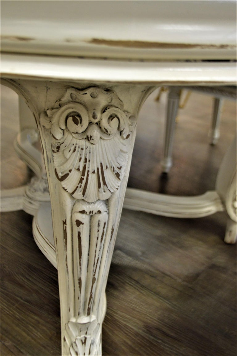 Painted Dining Table from Provence, Attractive Hand Carving on Louis XV Legs For Sale 2