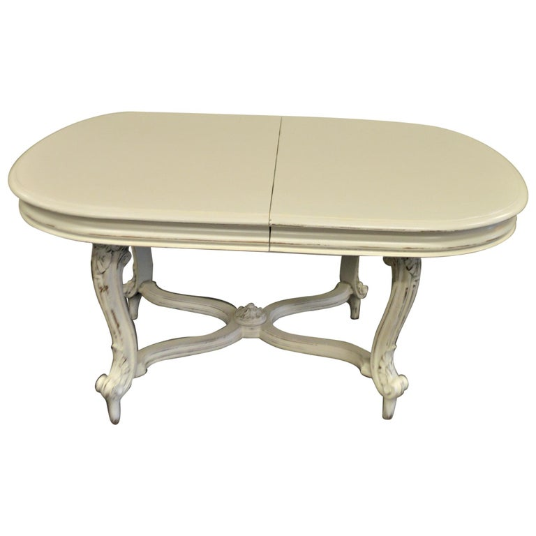 Painted Dining Table from Provence, Attractive Hand Carving on Louis XV Legs For Sale