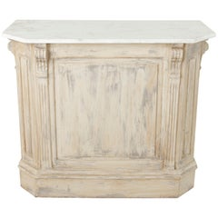 Painted Dry Bar or Counter with Veined White Marble Top, circa 1900