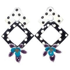 Painted Enamel Polka-Dot Flower Earrings, Post Backs, Black White Teal Purple
