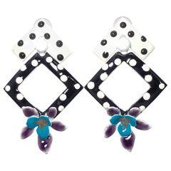 Painted Enamel Polka-Dot Flower Earrings, Post Backs, Black White Teal Purple
