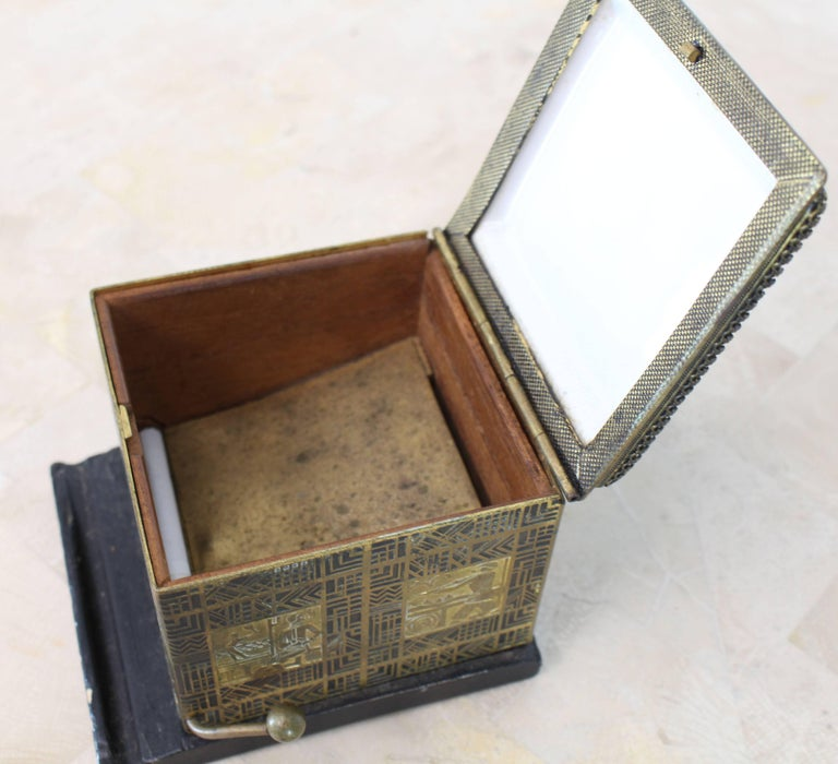 20th Century Painted Enamel Porcelain Lid Etched Metal Sides Cigarette Dispenser Box For Sale