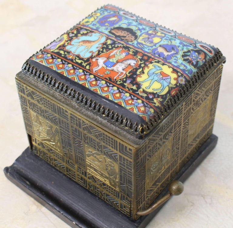 Very nice painted porcelain top etched metal Art Deco motive sides cigarette dispenser box.