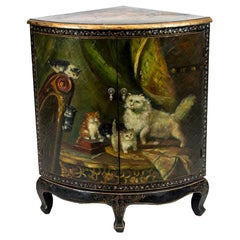 Painted English Bowfront Corner Cupboard