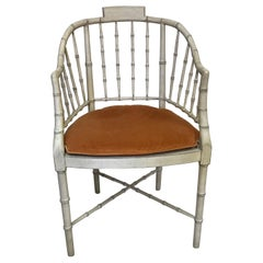 Painted Faux Bamboo Armchair by Baker